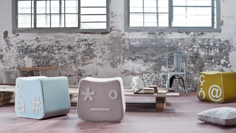 Pi gio il pouf design con effetto emoticon arredare con - Pouf letto design ...