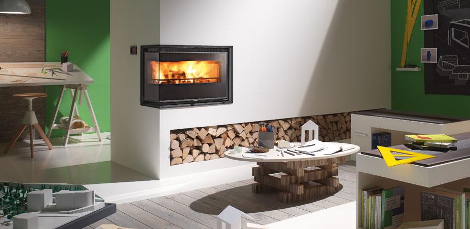 Inserti camino design a legna e pellet arredare con stile for Clam camini