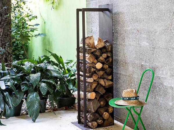 Porta legna di design in corten per interno ed esterno for Cesti porta legna ikea