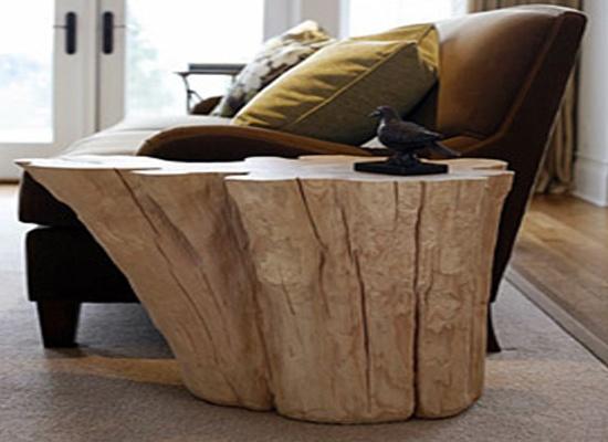 Arredare casa con i tavolini in tronco di legno naturale - Tavoli rustici fai da te ...