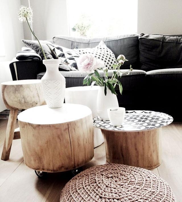 Arredare casa con i tavolini in tronco di legno naturale  Arredare ...