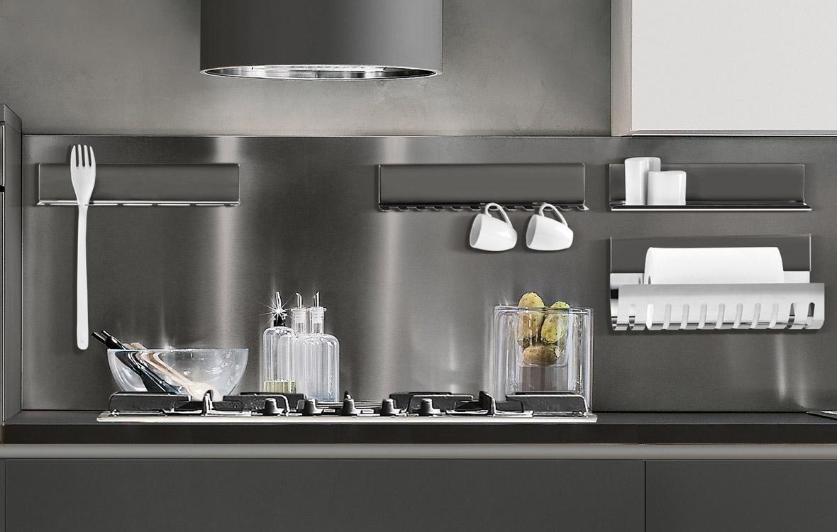 Il sistema magnetika di ronda design mensole librerie e - Mensole acciaio per cucina ...