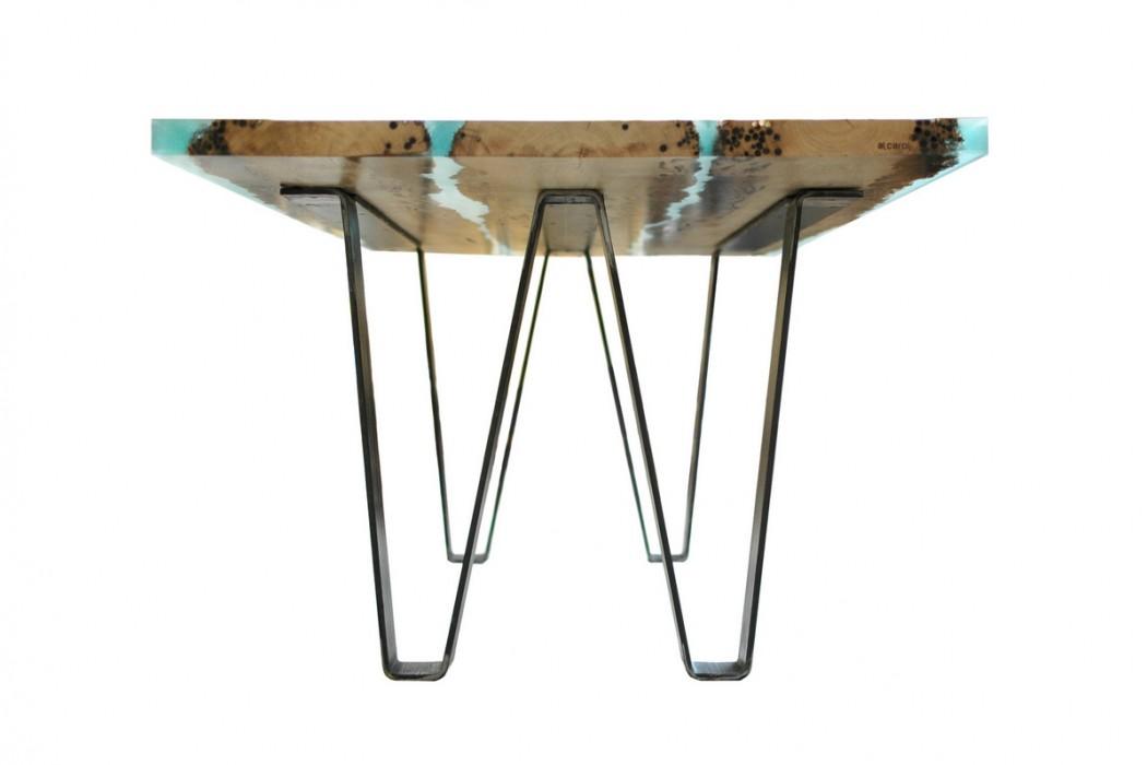 Tavoli di design in legno di briccole e resina arredare for Tavolo legno resina