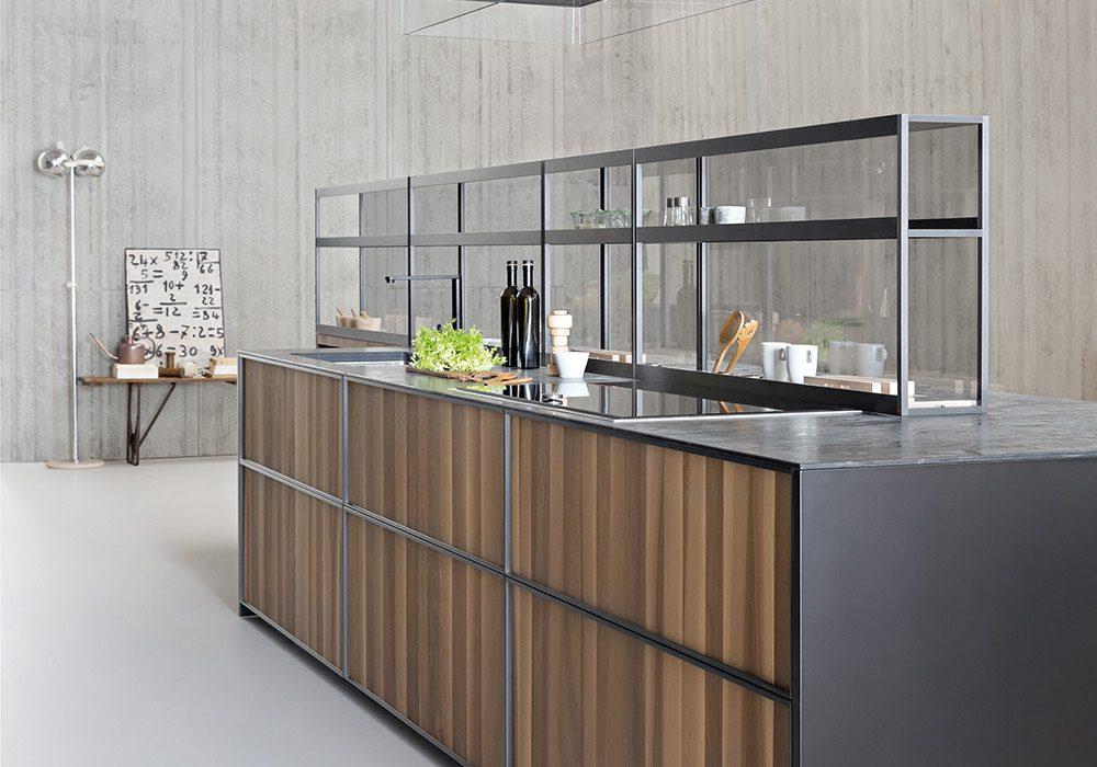 Sistema di mensole e vani a giorno in alluminio per cucina for Mensole in alluminio